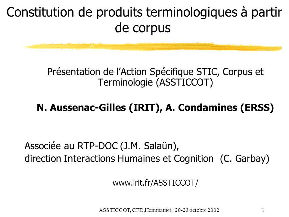 ASSTICCOT, CFD,Hammamet, 20-23 octobre 20021 Constitution de produits terminologiques à partir de corpus Présentation de lAction Spécifique STIC, Corp