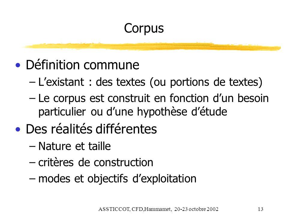 ASSTICCOT, CFD,Hammamet, 20-23 octobre 200213 Corpus Définition commune –Lexistant : des textes (ou portions de textes) –Le corpus est construit en fo