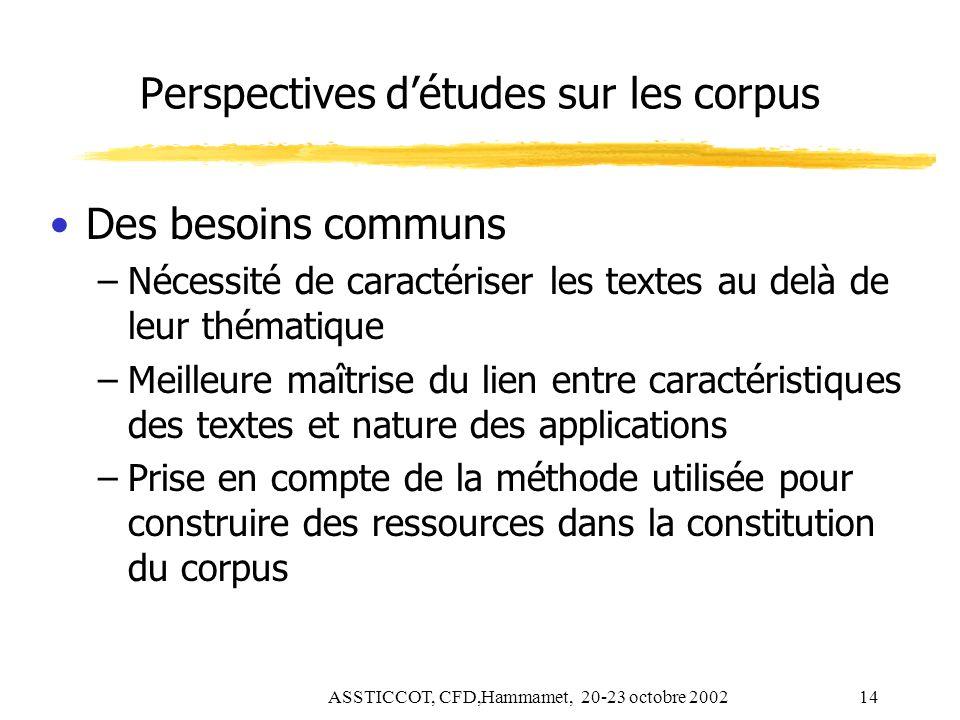 ASSTICCOT, CFD,Hammamet, 20-23 octobre 200214 Perspectives détudes sur les corpus Des besoins communs –Nécessité de caractériser les textes au delà de