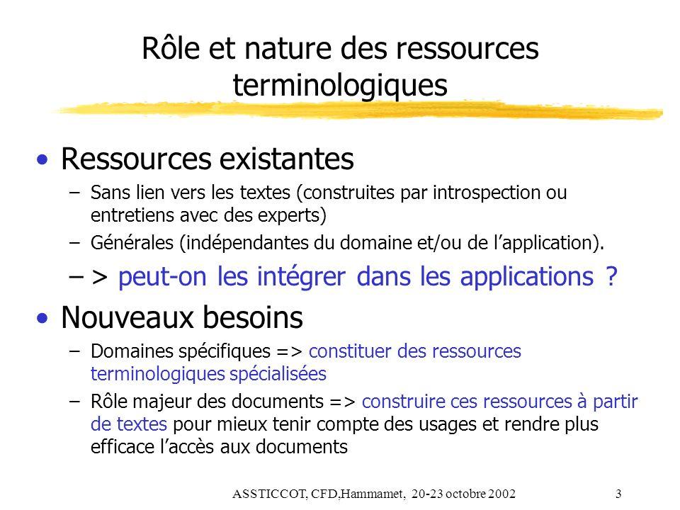 ASSTICCOT, CFD,Hammamet, 20-23 octobre 20023 Rôle et nature des ressources terminologiques Ressources existantes –Sans lien vers les textes (construit