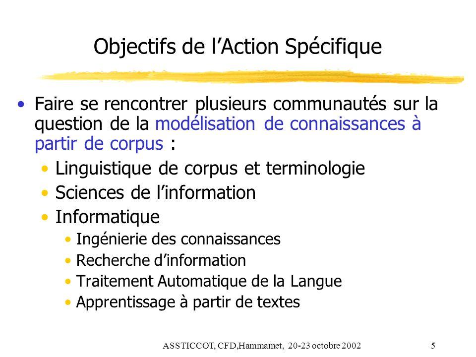 ASSTICCOT, CFD,Hammamet, 20-23 octobre 20025 Objectifs de lAction Spécifique Faire se rencontrer plusieurs communautés sur la question de la modélisat