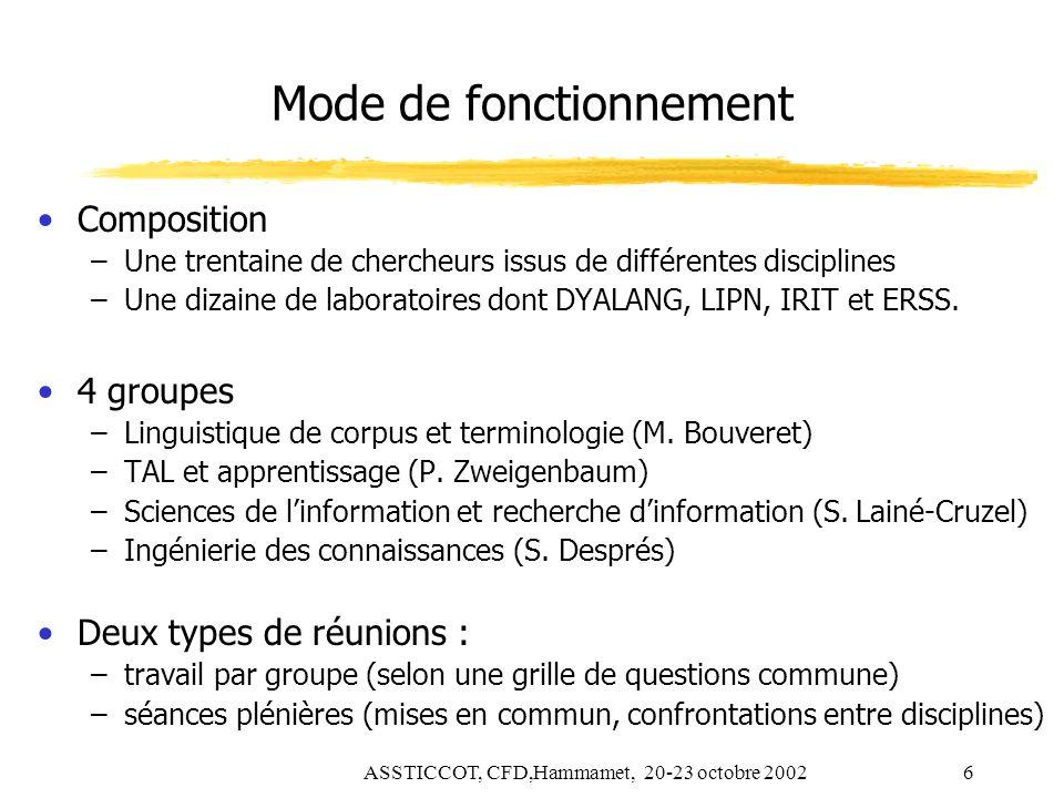 ASSTICCOT, CFD,Hammamet, 20-23 octobre 20026 Mode de fonctionnement Composition –Une trentaine de chercheurs issus de différentes disciplines –Une diz
