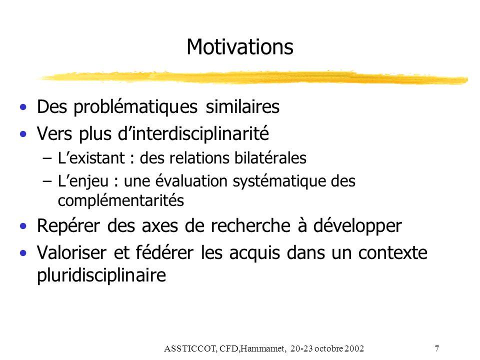 ASSTICCOT, CFD,Hammamet, 20-23 octobre 20027 Motivations Des problématiques similaires Vers plus dinterdisciplinarité –Lexistant : des relations bilat