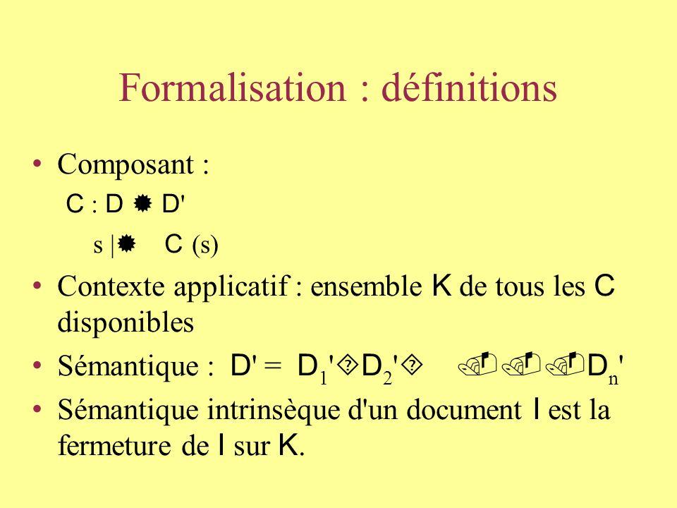 Algèbre de composants Domaine = données initiales + données produites Opérateurs = composants élémentaires (implémentations d algorithmes) Sémantique = « preuve » par combinaison d opérateurs Contexte .