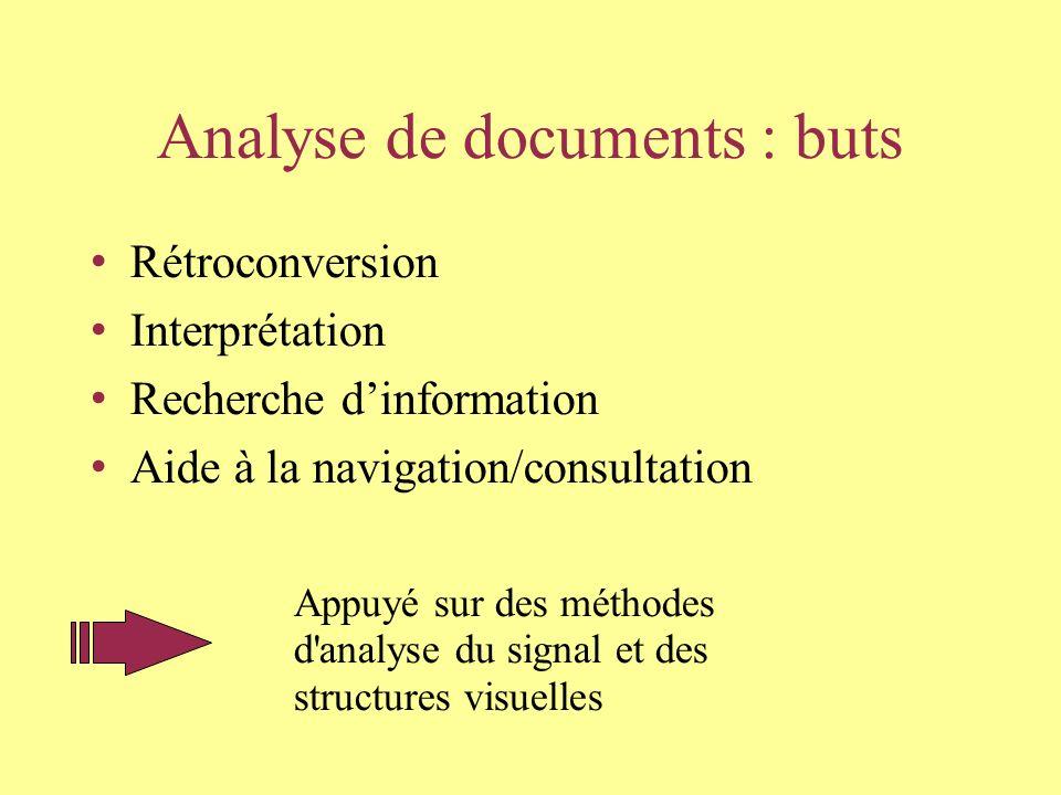 Analyse de documents : buts Rétroconversion Interprétation Recherche dinformation Aide à la navigation/consultation Appuyé sur des méthodes d analyse du signal et des structures visuelles