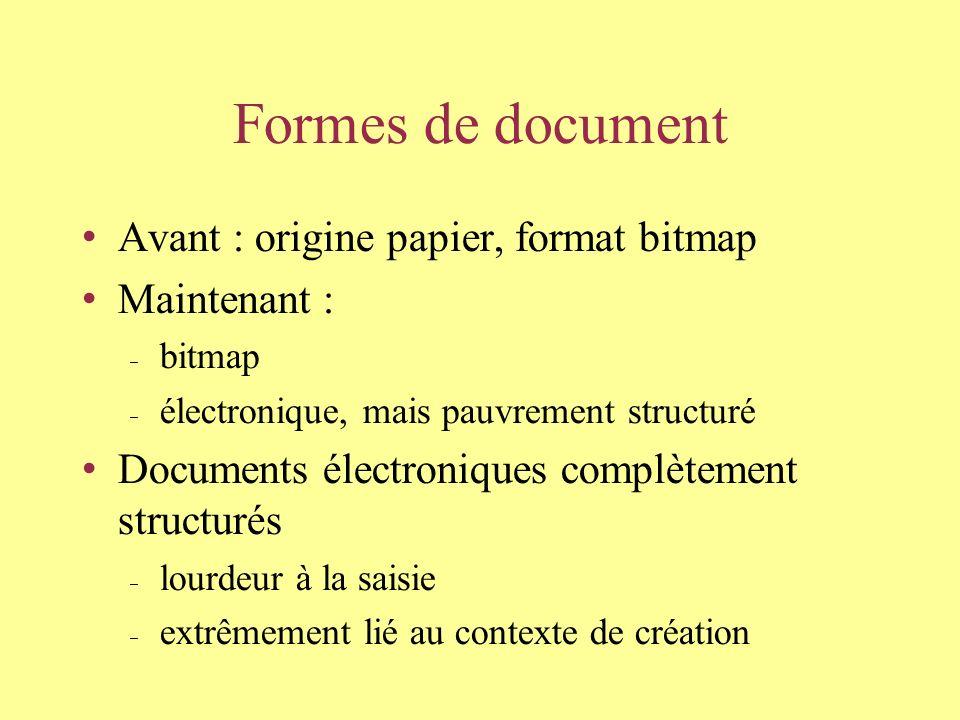 Formes de document Avant : origine papier, format bitmap Maintenant : bitmap électronique, mais pauvrement structuré Documents électroniques complètement structurés lourdeur à la saisie extrêmement lié au contexte de création