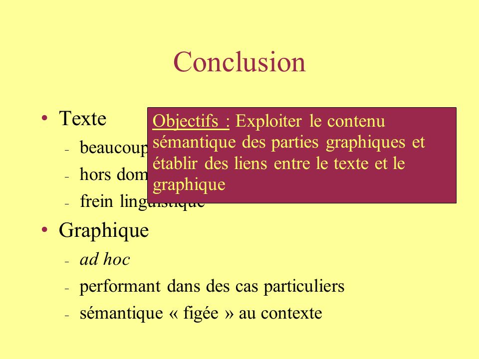 Conclusion Texte beaucoup de progrès (rétroconversion) hors domaine QGar frein linguistique Graphique ad hoc performant dans des cas particuliers sémantique « figée » au contexte Objectifs : Exploiter le contenu sémantique des parties graphiques et établir des liens entre le texte et le graphique