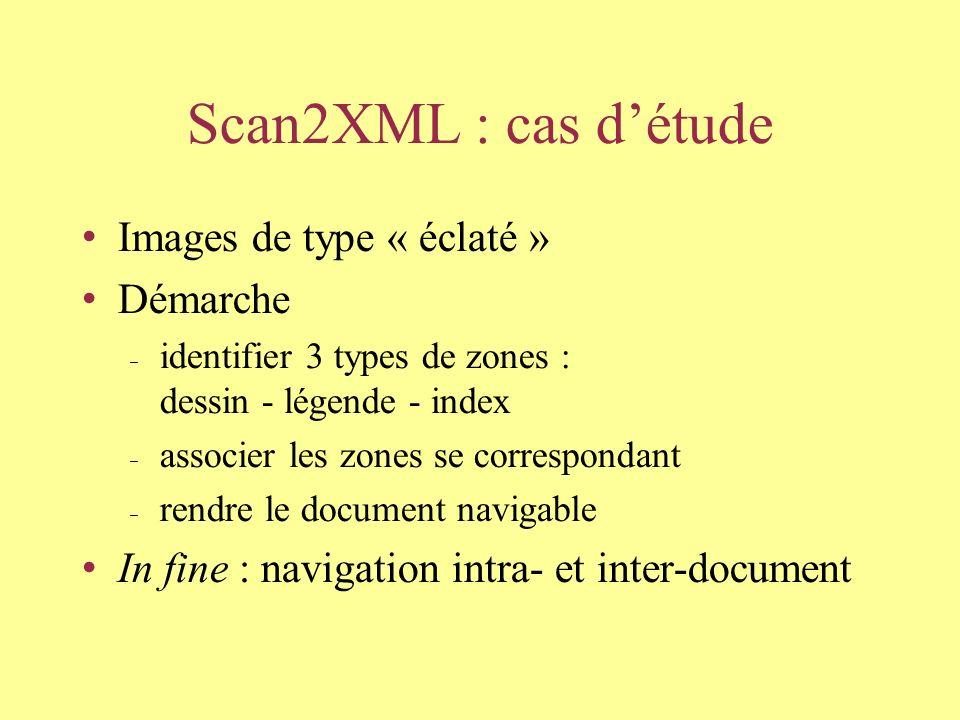 Scan2XML : cas détude Images de type « éclaté » Démarche identifier 3 types de zones : dessin - légende - index associer les zones se correspondant rendre le document navigable In fine : navigation intra- et inter-document