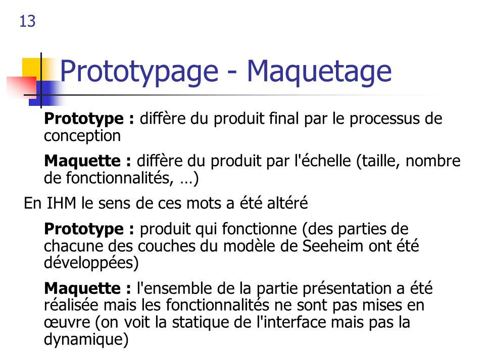 13 Prototypage - Maquetage Prototype : diffère du produit final par le processus de conception Maquette : diffère du produit par l'échelle (taille, no