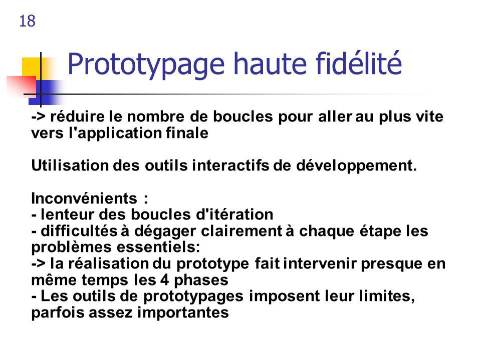 18 Prototypage haute fidélité -> réduire le nombre de boucles pour aller au plus vite vers l'application finale Utilisation des outils interactifs de
