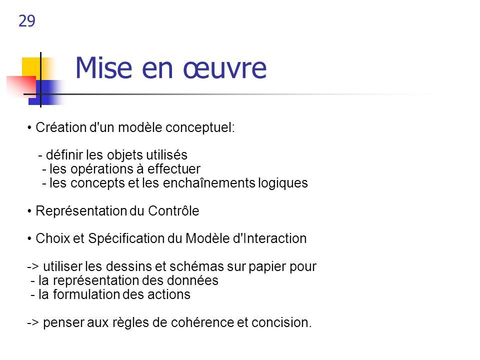 29 Mise en œuvre Création d'un modèle conceptuel: - définir les objets utilisés - les opérations à effectuer - les concepts et les enchaînements logiq
