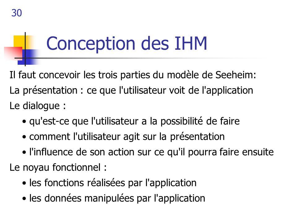 30 Conception des IHM Il faut concevoir les trois parties du modèle de Seeheim: La présentation : ce que l'utilisateur voit de l'application Le dialog