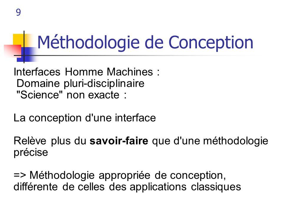 9 Méthodologie de Conception Interfaces Homme Machines : Domaine pluri-disciplinaire