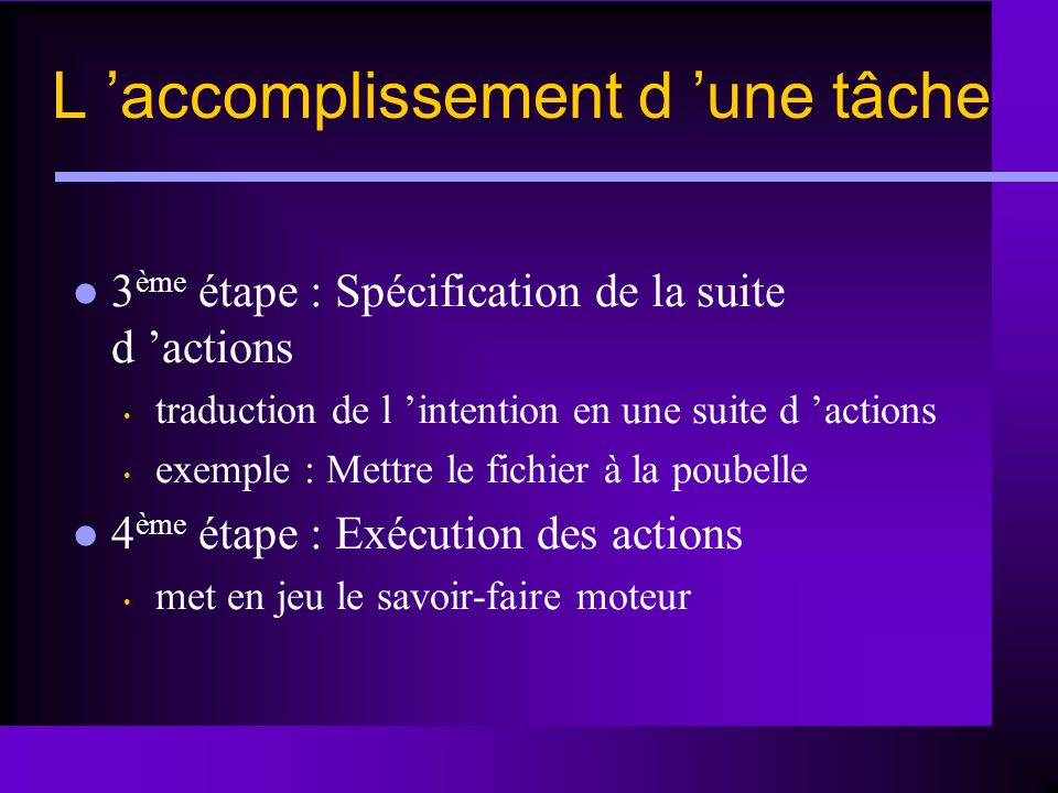L accomplissement d une tâche 3 ème étape : Spécification de la suite d actions traduction de l intention en une suite d actions exemple : Mettre le f
