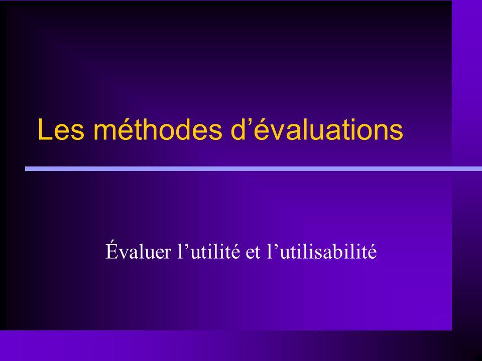 Les méthodes dévaluations Évaluer lutilité et lutilisabilité