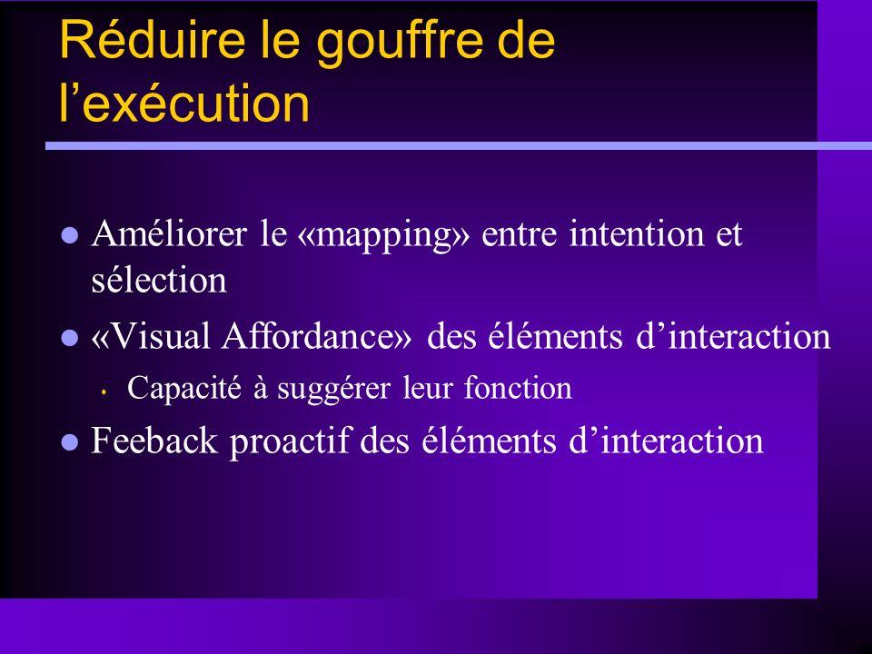 Réduire le gouffre de lexécution Améliorer le «mapping» entre intention et sélection «Visual Affordance» des éléments dinteraction Capacité à suggérer