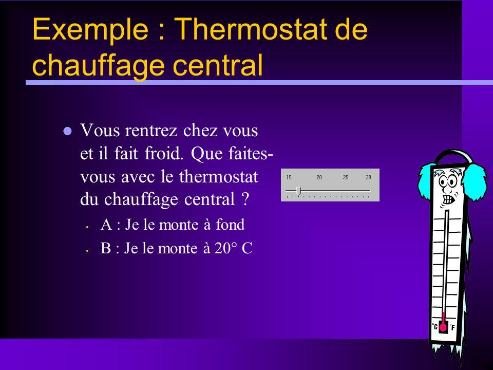 Exemple : Thermostat de chauffage central Vous rentrez chez vous et il fait froid. Que faites- vous avec le thermostat du chauffage central ? A : Je l