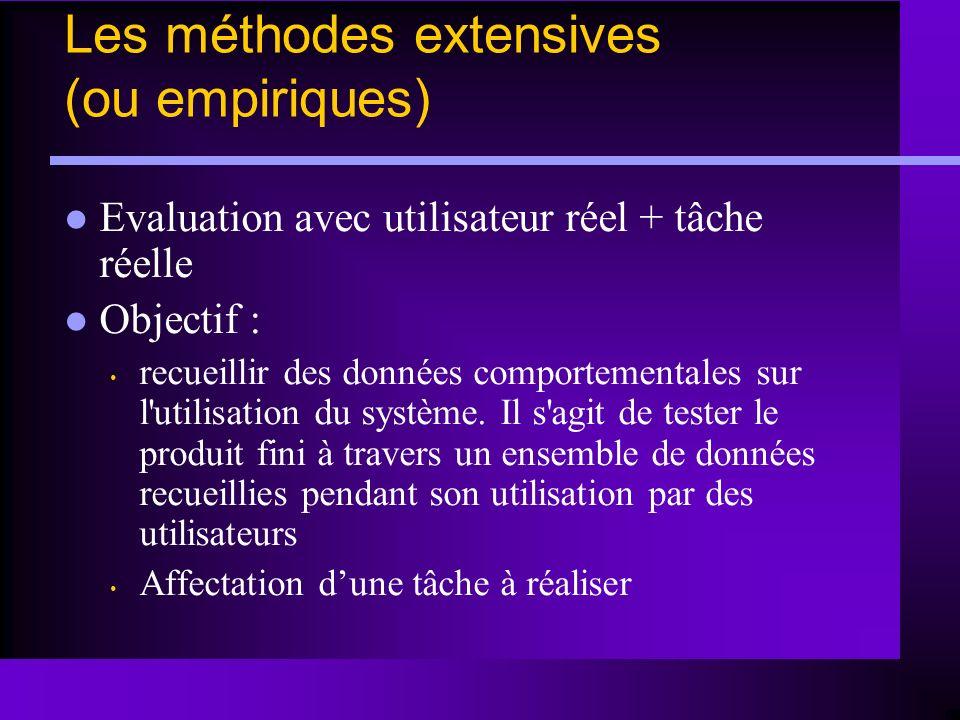 Les méthodes extensives (ou empiriques) Evaluation avec utilisateur réel + tâche réelle Objectif : recueillir des données comportementales sur l'utili