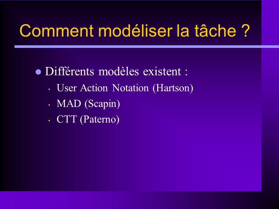 Comment modéliser la tâche ? Différents modèles existent : User Action Notation (Hartson) MAD (Scapin) CTT (Paterno)