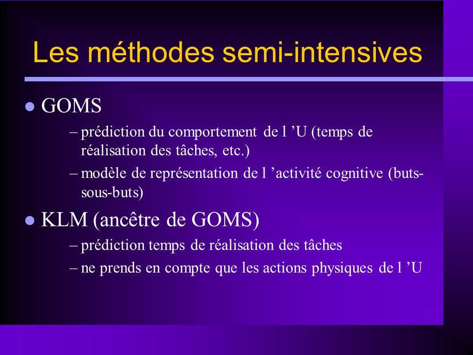 Les méthodes semi-intensives GOMS –prédiction du comportement de l U (temps de réalisation des tâches, etc.) –modèle de représentation de l activité c