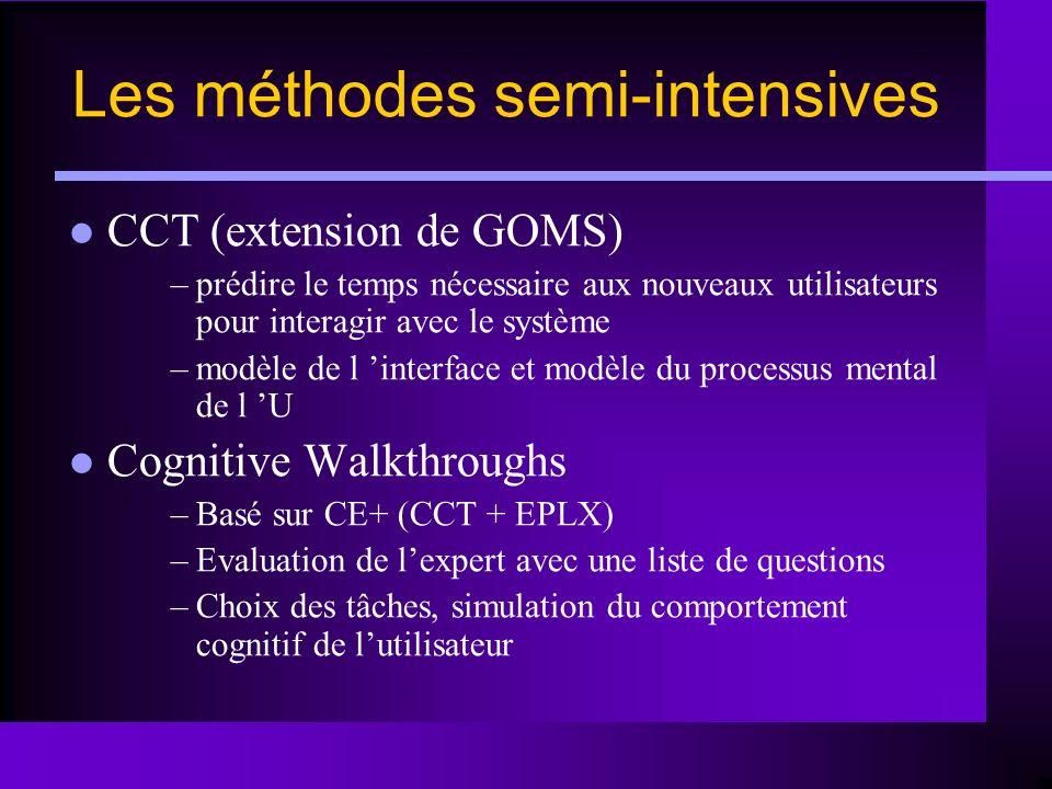 CCT (extension de GOMS) –prédire le temps nécessaire aux nouveaux utilisateurs pour interagir avec le système –modèle de l interface et modèle du proc