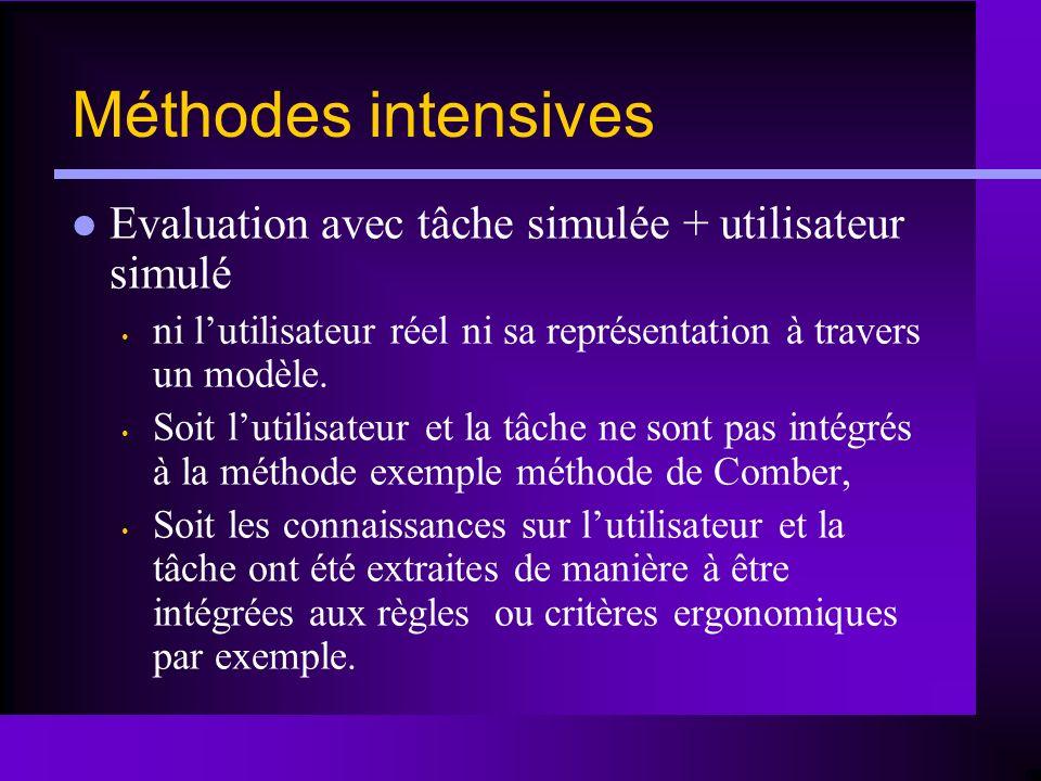Méthodes intensives Evaluation avec tâche simulée + utilisateur simulé ni lutilisateur réel ni sa représentation à travers un modèle. Soit lutilisateu