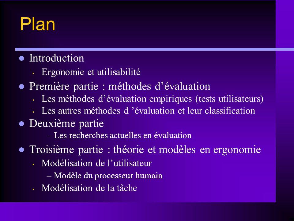 Plan Introduction Ergonomie et utilisabilité Première partie : méthodes dévaluation Les méthodes dévaluation empiriques (tests utilisateurs) Les autre