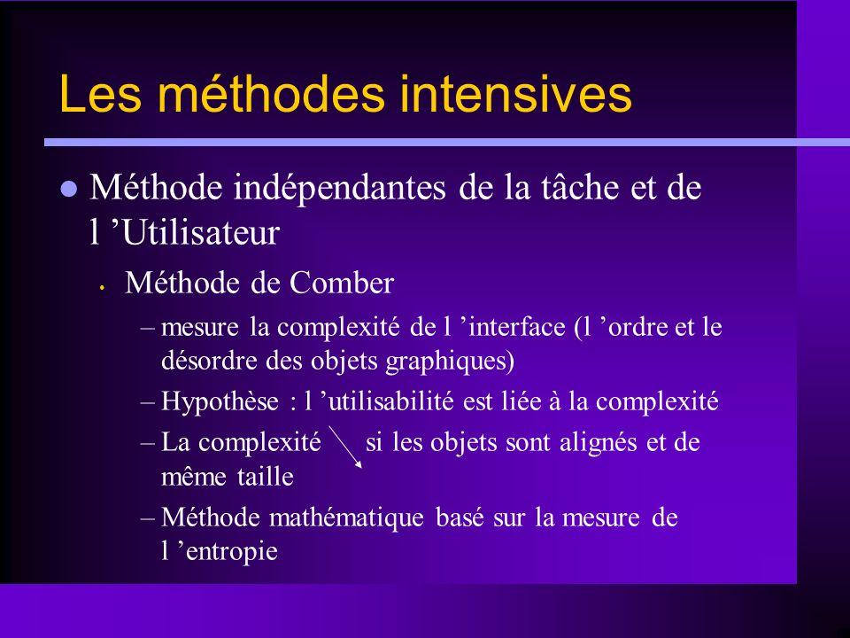 Les méthodes intensives Méthode indépendantes de la tâche et de l Utilisateur Méthode de Comber –mesure la complexité de l interface (l ordre et le dé