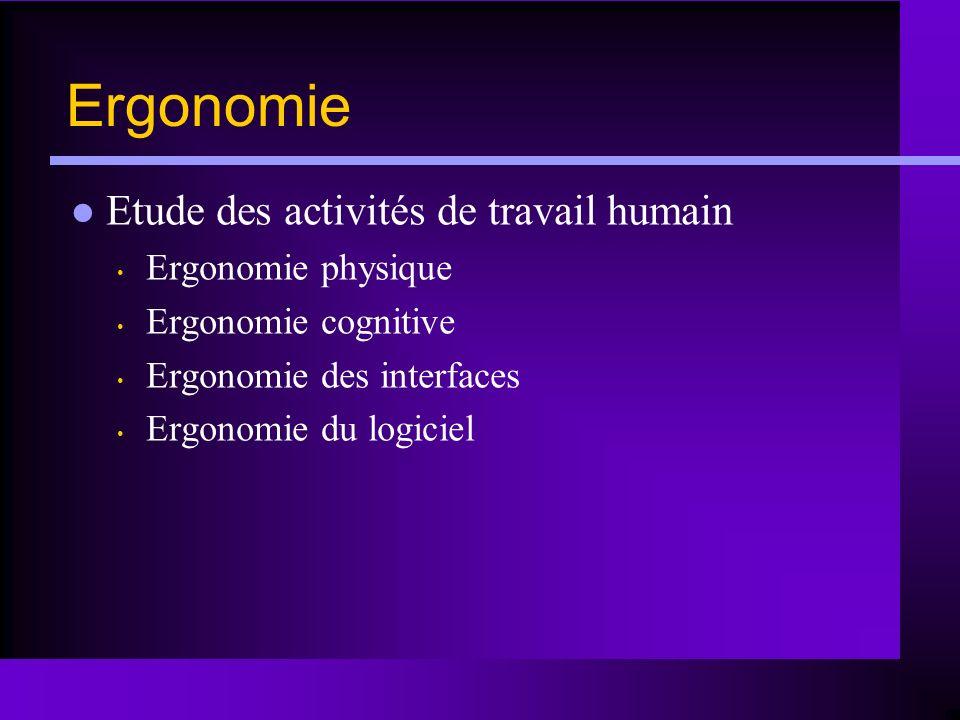 Ergonomie Etude des activités de travail humain Ergonomie physique Ergonomie cognitive Ergonomie des interfaces Ergonomie du logiciel