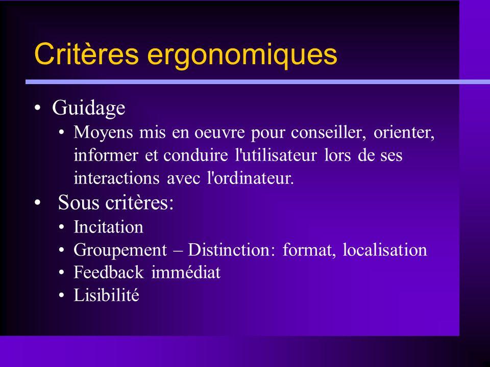 Critères ergonomiques Guidage Moyens mis en oeuvre pour conseiller, orienter, informer et conduire l'utilisateur lors de ses interactions avec l'ordin