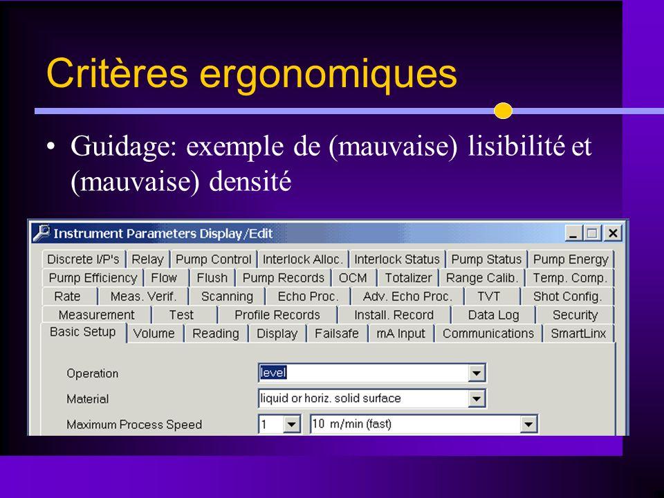 Guidage: exemple de (mauvaise) lisibilité et (mauvaise) densité Critères ergonomiques