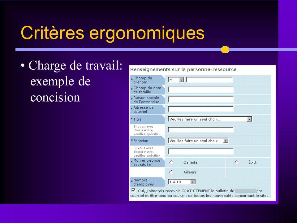 Charge de travail: exemple de concision Critères ergonomiques