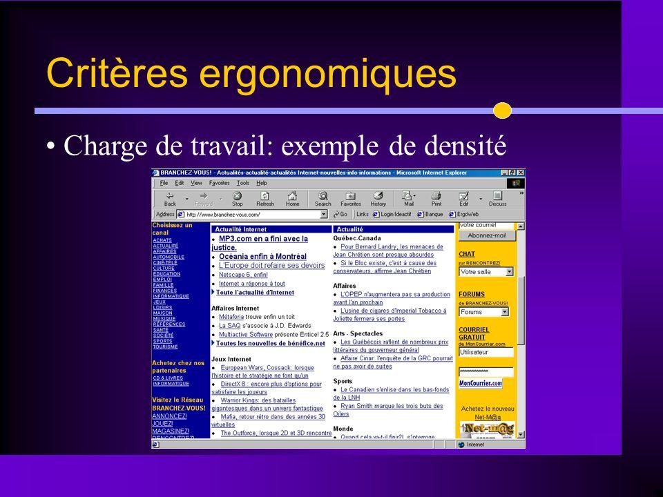 Charge de travail: exemple de densité Critères ergonomiques