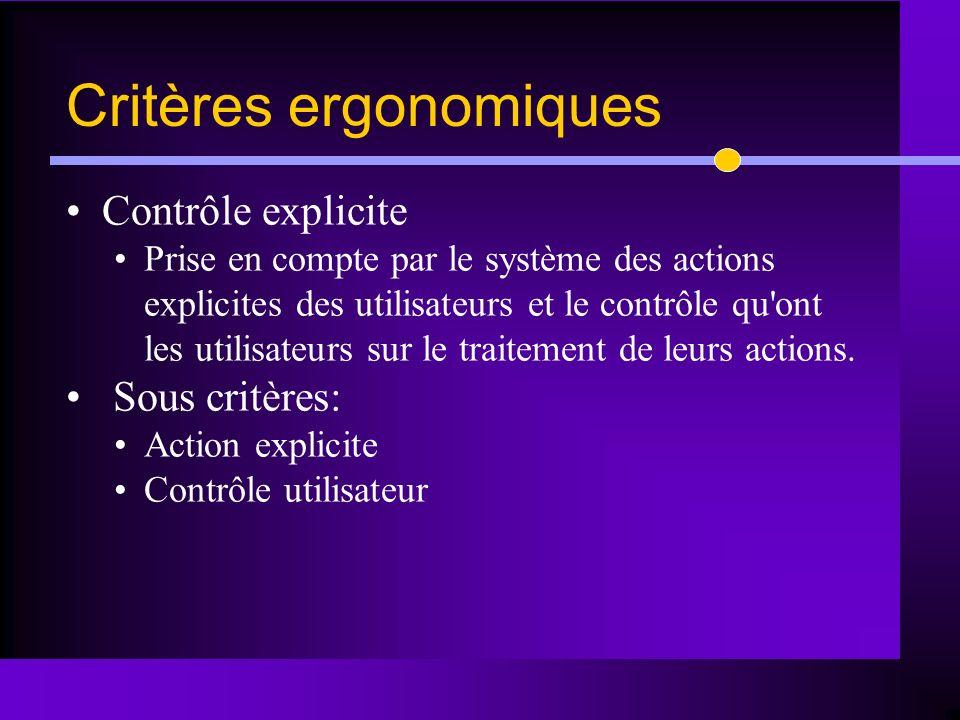 Contrôle explicite Prise en compte par le système des actions explicites des utilisateurs et le contrôle qu'ont les utilisateurs sur le traitement de