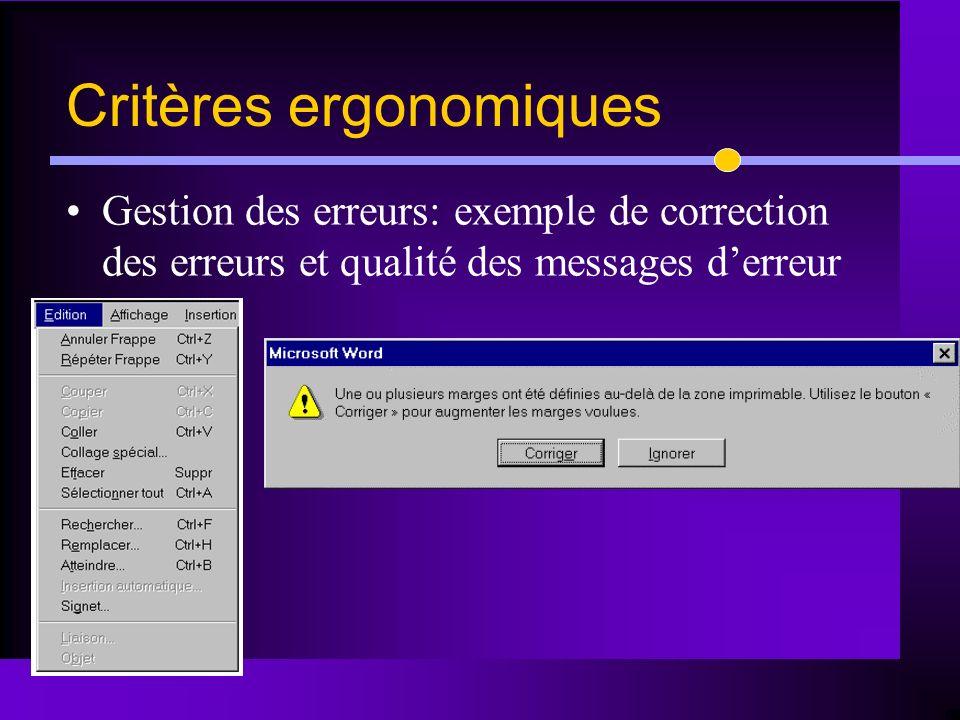 Gestion des erreurs: exemple de correction des erreurs et qualité des messages derreur Critères ergonomiques