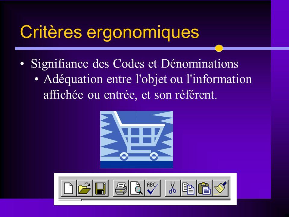 Signifiance des Codes et Dénominations Adéquation entre l'objet ou l'information affichée ou entrée, et son référent. Critères ergonomiques