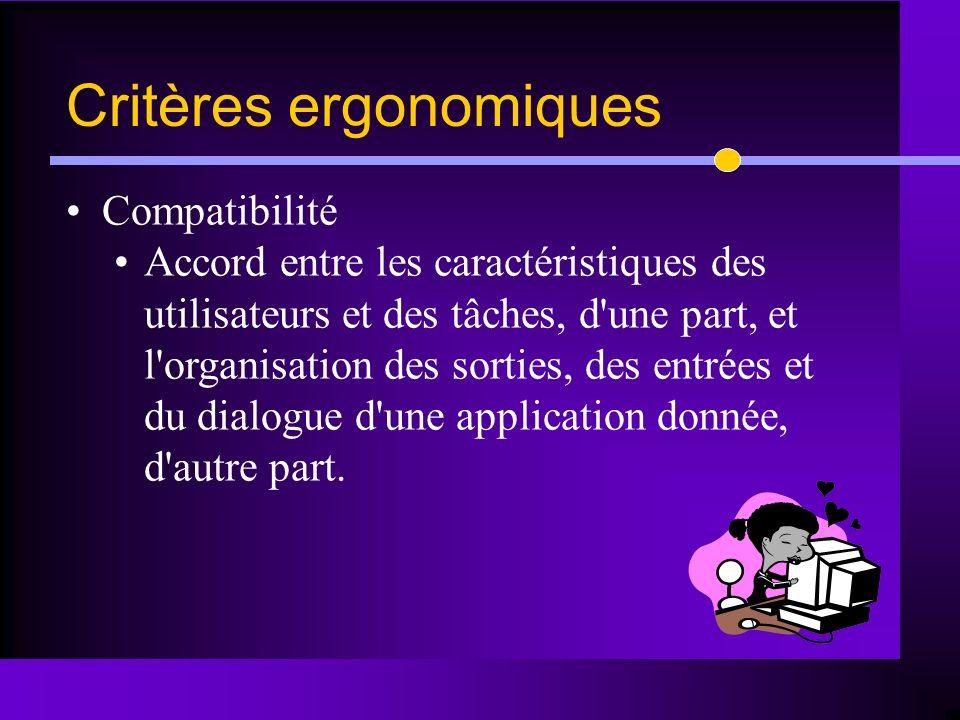 Compatibilité Accord entre les caractéristiques des utilisateurs et des tâches, d'une part, et l'organisation des sorties, des entrées et du dialogue