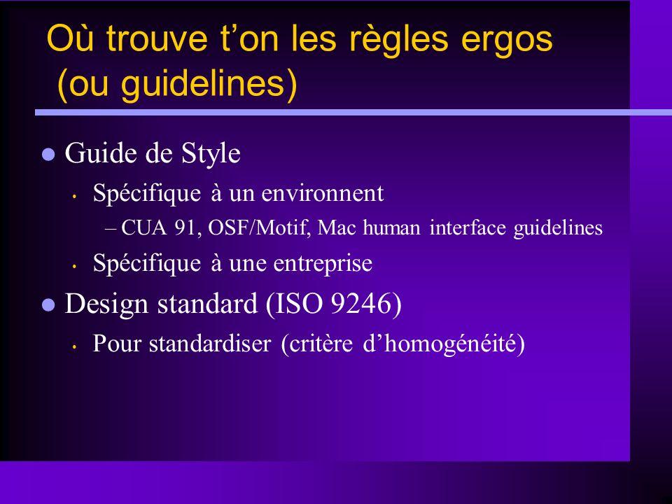 Guide de Style Spécifique à un environnent –CUA 91, OSF/Motif, Mac human interface guidelines Spécifique à une entreprise Design standard (ISO 9246) P