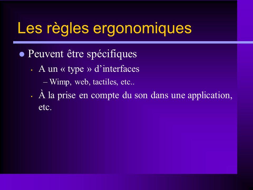 Les règles ergonomiques Peuvent être spécifiques A un « type » dinterfaces –Wimp, web, tactiles, etc.. À la prise en compte du son dans une applicatio