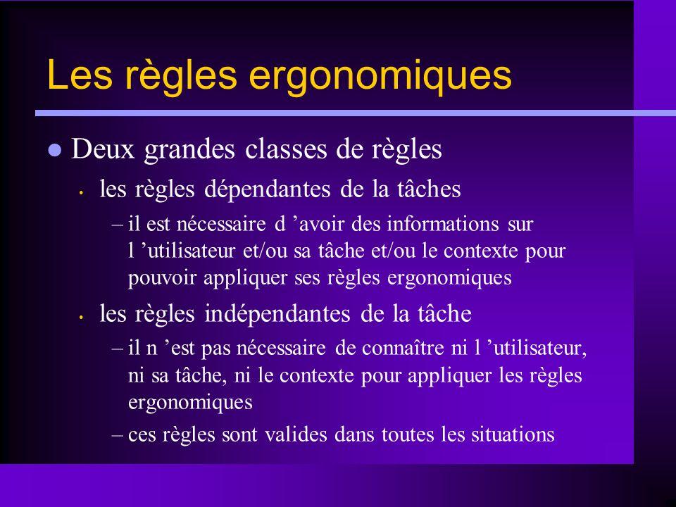 Les règles ergonomiques Deux grandes classes de règles les règles dépendantes de la tâches –il est nécessaire d avoir des informations sur l utilisate