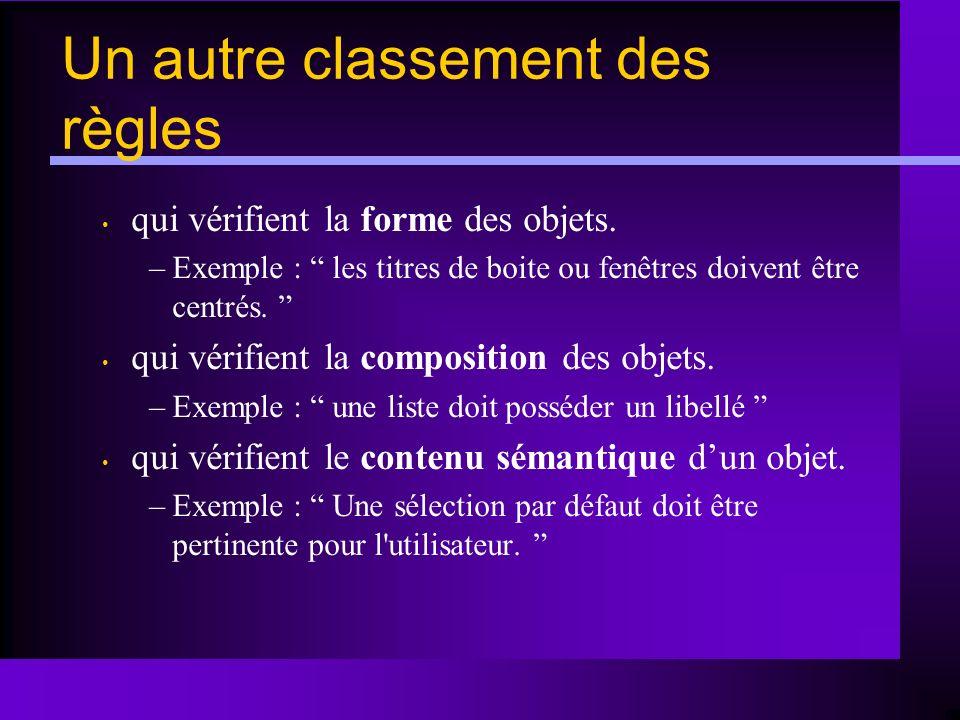 qui vérifient la forme des objets. –Exemple : les titres de boite ou fenêtres doivent être centrés. qui vérifient la composition des objets. –Exemple