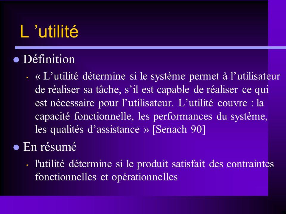 L utilité Définition « Lutilité détermine si le système permet à lutilisateur de réaliser sa tâche, sil est capable de réaliser ce qui est nécessaire