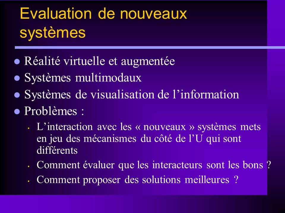 Réalité virtuelle et augmentée Systèmes multimodaux Systèmes de visualisation de linformation Problèmes : Linteraction avec les « nouveaux » systèmes