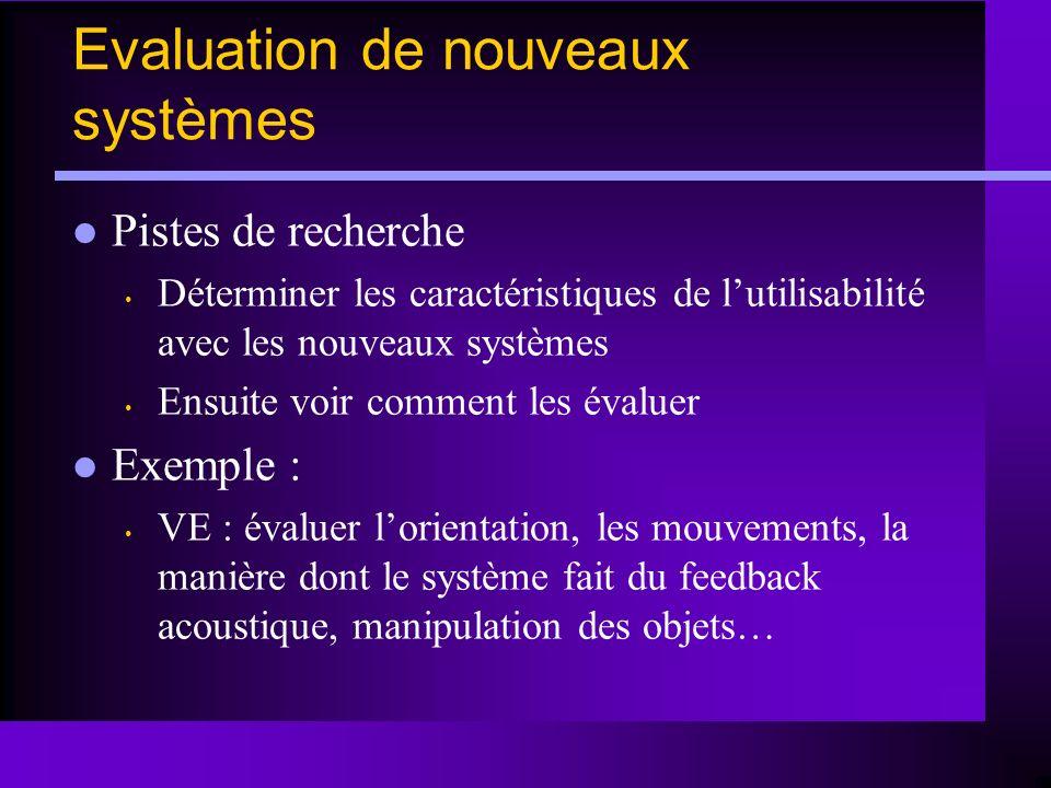 Pistes de recherche Déterminer les caractéristiques de lutilisabilité avec les nouveaux systèmes Ensuite voir comment les évaluer Exemple : VE : évalu