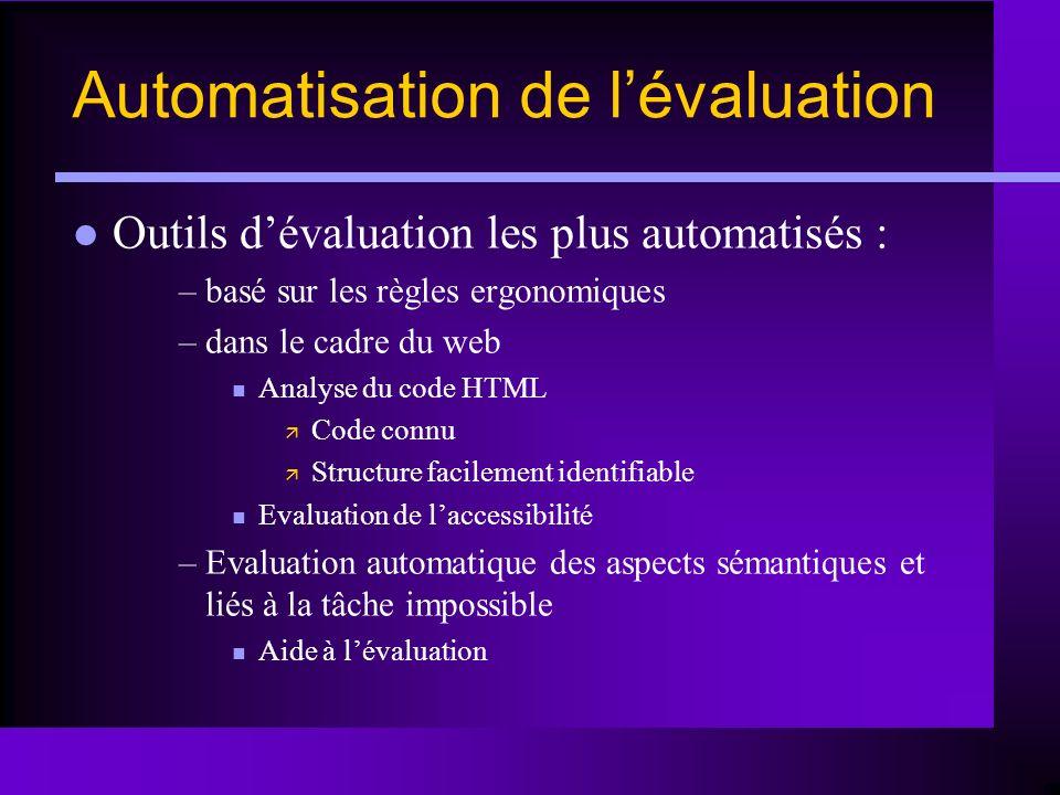 Outils dévaluation les plus automatisés : –basé sur les règles ergonomiques –dans le cadre du web n Analyse du code HTML ä Code connu ä Structure faci