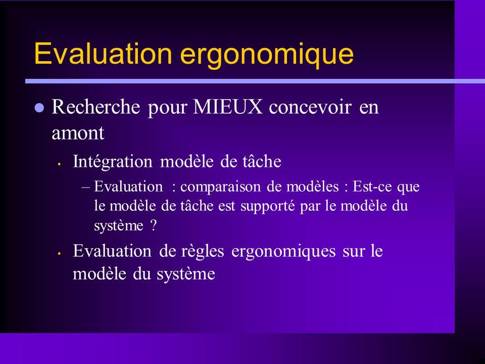Evaluation ergonomique Recherche pour MIEUX concevoir en amont Intégration modèle de tâche –Evaluation : comparaison de modèles : Est-ce que le modèle
