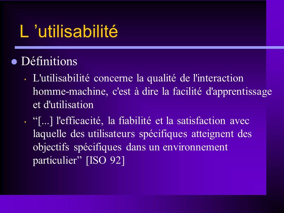 L utilisabilité Définitions L'utilisabilité concerne la qualité de l'interaction homme-machine, c'est à dire la facilité d'apprentissage et d'utilisat
