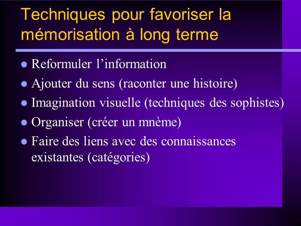Techniques pour favoriser la mémorisation à long terme Reformuler linformation Ajouter du sens (raconter une histoire) Imagination visuelle (technique