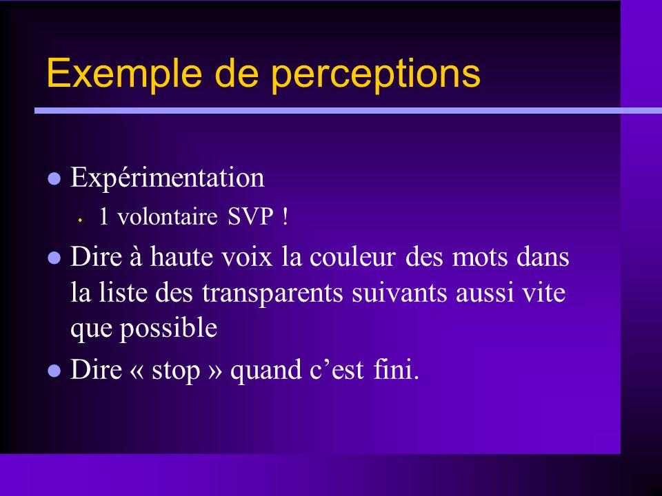 Exemple de perceptions Expérimentation 1 volontaire SVP ! Dire à haute voix la couleur des mots dans la liste des transparents suivants aussi vite que