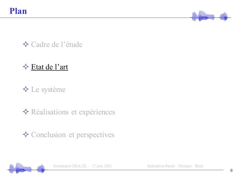 6 Soutenance DEA 2IL - 27 juin 2001Indexation Parole / Musique / Bruit Plan Cadre de létude Etat de lart Le système Réalisations et expériences Conclusion et perspectives